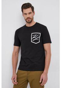 Karl Lagerfeld - T-shirt bawełniany. Kolor: czarny. Materiał: bawełna. Wzór: nadruk