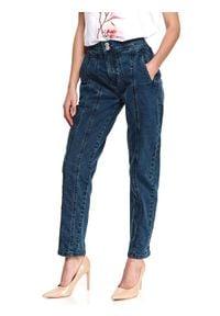 TOP SECRET - Denimowe spodnie z przeszyciami. Stan: podwyższony. Kolor: niebieski. Materiał: jeans, tkanina. Sezon: wiosna