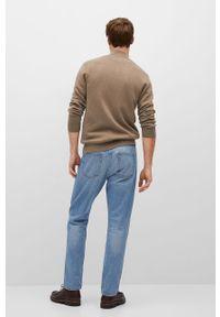 Brązowy sweter rozpinany Mango Man casualowy, na co dzień, gładki