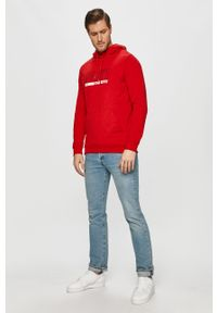 Czerwona bluza nierozpinana 4f na co dzień, z kapturem, z nadrukiem