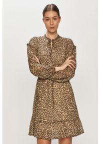 only - Only - Sukienka. Kolor: beżowy. Materiał: tkanina. Typ sukienki: rozkloszowane