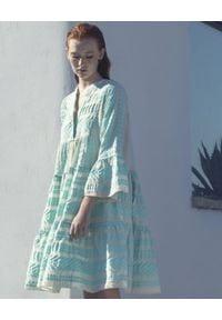 Devotion Twins - Bawełniana pastelowa sukienka z rękawem 3/4 Devotion. Typ kołnierza: kołnierz z falbankami. Kolor: miętowy. Materiał: bawełna. Typ sukienki: oversize