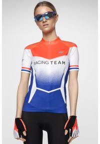 4f - Koszulka rowerowa damska RKD154 - multikolor allover. Typ kołnierza: kołnierzyk stójkowy. Kolor: wielokolorowy. Materiał: włókno. Długość rękawa: raglanowy rękaw. Długość: długie. Sport: kolarstwo