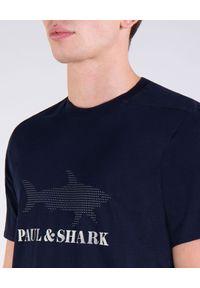 PAUL & SHARK - Granatowy T-shirt z logo. Okazja: na co dzień. Kolor: niebieski. Materiał: bawełna, jeans. Wzór: nadruk. Styl: casual