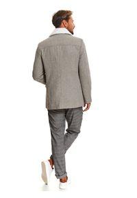 TOP SECRET - Płaszcz typu bosmanka ze sztucznym futrem. Kolor: szary. Materiał: futro. Długość: krótkie. Wzór: jodełka. Sezon: zima. Styl: wizytowy, klasyczny, elegancki
