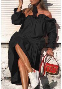 Czarna długa sukienka IVET na lato, elegancka