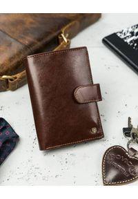 ROVICKY - Skórzany portfel męski brązowy Rovicky N74L-RVT BROWN. Kolor: brązowy. Materiał: skóra