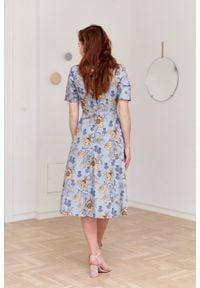 Marie Zélie - Sukienka Aerin Lutaria. Materiał: skóra, bawełna, materiał. Typ sukienki: trapezowe
