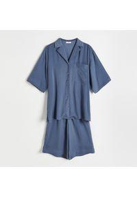 Reserved - Satynowa piżama - Niebieski. Kolor: niebieski. Materiał: satyna