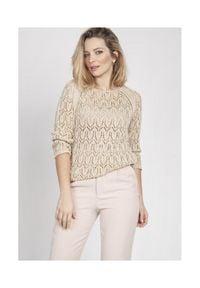 MKM - Krótki Sweterek z Błyszczącą Nitką - Ecru. Materiał: akryl. Długość: krótkie