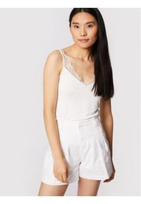 Morgan Top 211-BONAFI Biały Slim Fit. Kolor: biały