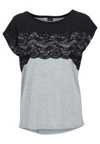 Shirt z koronką bonprix czarno-jasnoszary melanż. Kolor: czarny. Materiał: koronka. Długość rękawa: krótki rękaw. Długość: krótkie. Wzór: melanż, koronka