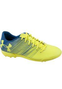 Żółte buty do piłki nożnej Under Armour w kolorowe wzory, z cholewką