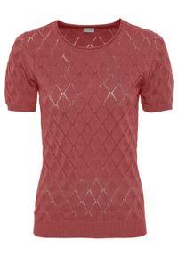 Różowy sweter bonprix z krótkim rękawem, w prążki, krótki