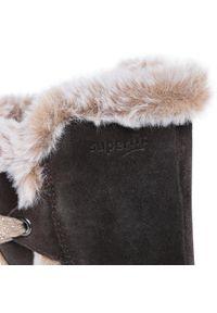 Brązowe kozaki Superfit z cholewką przed kolano, z aplikacjami, z cholewką