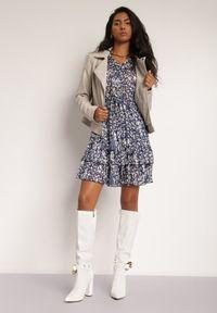 Renee - Granatowa Sukienka Pyrhaera. Okazja: do pracy, na co dzień. Kolor: niebieski. Typ sukienki: proste. Styl: klasyczny, casual