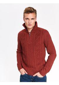 Pomarańczowy sweter TOP SECRET casualowy, na co dzień