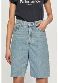 Dr. Denim - Szorty jeansowe. Okazja: na co dzień. Stan: podwyższony. Kolor: niebieski. Materiał: jeans, denim. Styl: casual