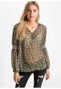 Bluzka shirtowa bonprix oliwkowy w kwiaty. Typ kołnierza: dekolt w serek. Kolor: zielony. Materiał: materiał, poliester. Wzór: kwiaty