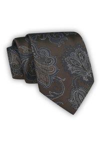 Chattier - Brązowy Krawat Męski, w Kwiaty, Klasyczny, Szeroki 8 cm, Elegancki -CHATTIER. Kolor: beżowy, brązowy, wielokolorowy. Materiał: tkanina. Wzór: kwiaty. Styl: klasyczny, elegancki