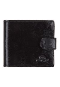 Wittchen - Męski portfel skórzany zapinany na napę. Kolor: czarny. Materiał: skóra