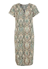 Soyaconcept Wzorzysta sukienka z wiskozy Pary akwamaryna we wzory female niebieski/ze wzorem XL (44). Kolor: niebieski. Materiał: wiskoza. Długość rękawa: krótki rękaw. Styl: elegancki