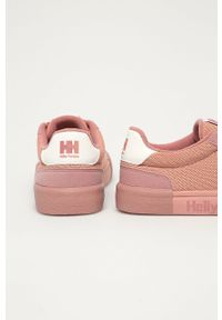 Różowe buty sportowe Helly Hansen na obcasie, na średnim obcasie, z cholewką, na sznurówki