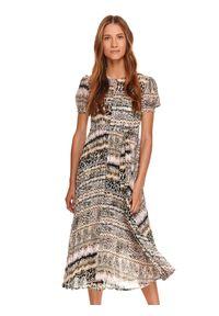 TOP SECRET - Sukienka z plisowanym dołem w drobny nadruk. Kolor: beżowy. Materiał: dzianina. Wzór: nadruk. Sezon: lato. Typ sukienki: plisowane. Styl: wizytowy