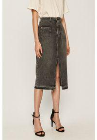Miss Sixty - Spódnica jeansowa. Kolor: szary. Materiał: jeans