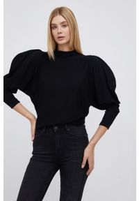 Sisley - Sweter. Typ kołnierza: golf. Kolor: czarny. Materiał: dzianina. Długość rękawa: długi rękaw. Długość: długie