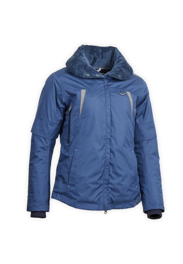 FOUGANZA - Ciepła kurtka jeździecka Tosca damska. Kolor: niebieski. Materiał: poliamid, materiał, poliester. Długość: krótkie. Sezon: zima
