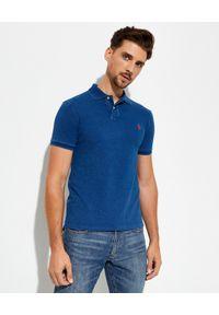 Ralph Lauren - RALPH LAUREN - Granatowa koszulka polo Slim Fit. Typ kołnierza: polo. Kolor: niebieski. Materiał: bawełna, materiał, prążkowany. Długość: długie. Wzór: haft, ze splotem