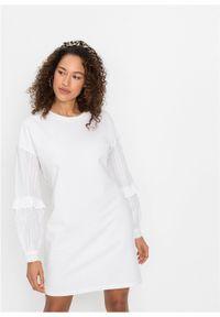 Biała sukienka bonprix z haftami
