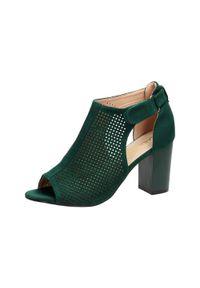 Zielone sandały Sabatina na słupku, klasyczne