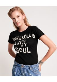 Czarny t-shirt ONETEASPOON z napisami, rockowy
