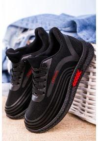 Casu - czarne buty sportowe sznurowane casu 20y04/r. Kolor: czarny