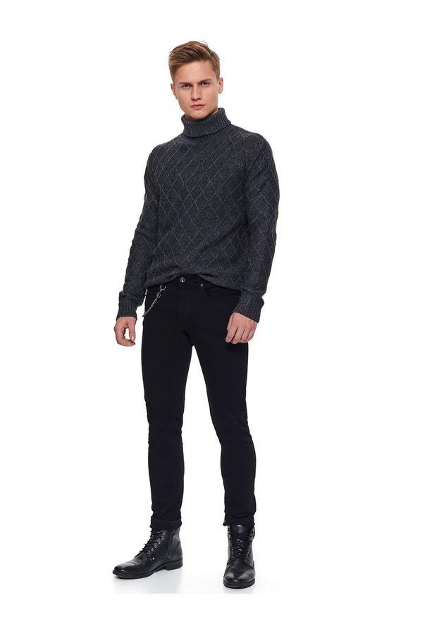 Czarne spodnie TOP SECRET na zimę, klasyczne, w kolorowe wzory