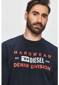 Niebieska bluza nierozpinana Diesel bez kaptura, z nadrukiem, casualowa