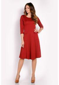 Lou-Lou - Bordo Sukienka Midi z Kieszeniami. Materiał: elastan. Długość: midi