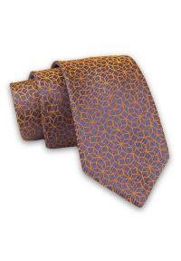 Alties - Pomarańczowo-Niebieski Elegancki, Męski Krawat -ALTIES- 7cm, Stylowy, Klasyczny, Wzór Geometryczny. Kolor: niebieski. Materiał: tkanina. Wzór: geometria. Styl: klasyczny, elegancki