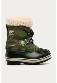 Zielone buty zimowe sorel na zimę, z okrągłym noskiem