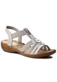 Białe sandały Rieker casualowe, z aplikacjami, na co dzień