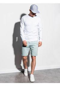 Ombre Clothing - Bluza męska bez kaptura B978 - biała - XXL. Okazja: na co dzień. Typ kołnierza: bez kaptura. Kolor: biały. Materiał: bawełna, materiał, poliester. Styl: klasyczny, casual
