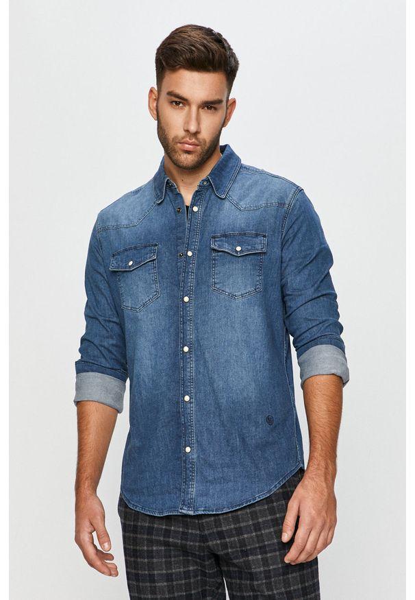 Niebieska koszula Cross Jeans długa, z klasycznym kołnierzykiem, na co dzień