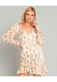 CAROLINE CONSTAS - Jedwabna sukienka z marszczeniem. Kolor: beżowy. Materiał: jedwab