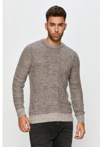 Szary sweter PRODUKT by Jack & Jones casualowy, z okrągłym kołnierzem