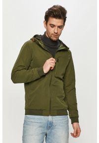 Zielona kurtka Jack & Jones z kapturem, na co dzień, gładkie