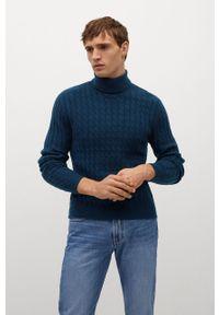 Niebieski sweter Mango Man z golfem, długi, na co dzień
