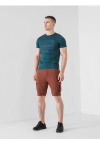 4f - Spodenki dresowe męskie. Okazja: na co dzień. Kolor: brązowy. Materiał: dresówka. Styl: casual