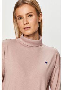 Różowa bluzka z długim rękawem Champion z aplikacjami, casualowa, na co dzień